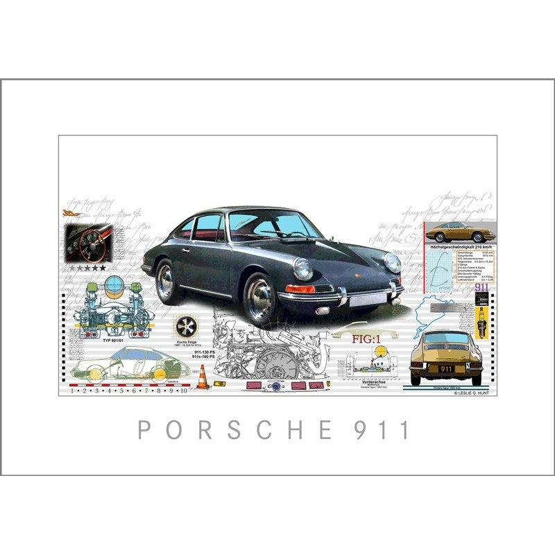 "Leslie Hunt Bilder kaufen Original ""Porsche 911"" klassisch Giclee"