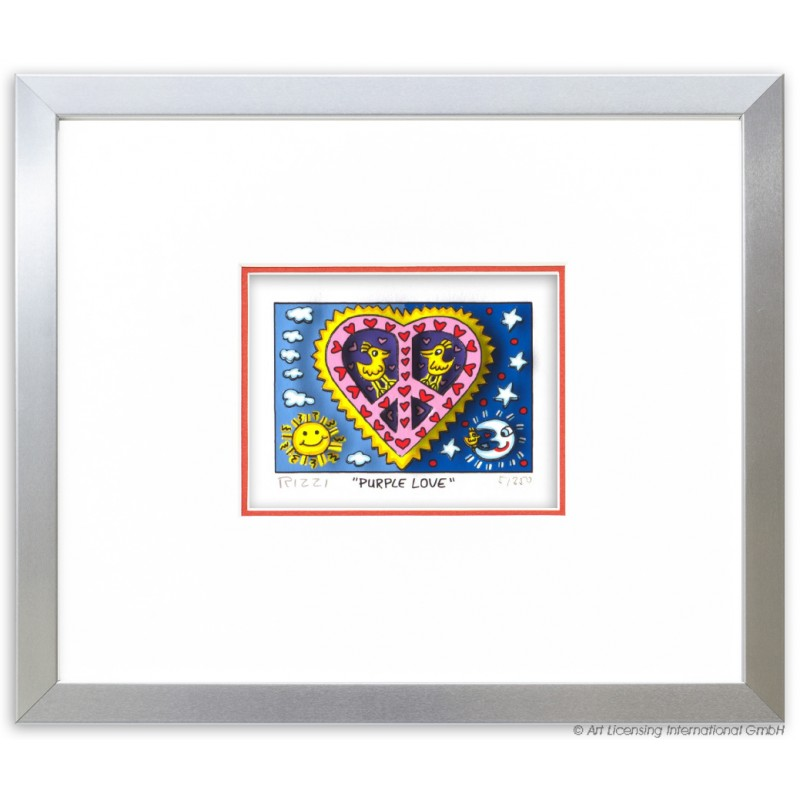 "James Rizzi Original 3D-Bild ""Purple Love"" im Rahmen Alu-matt"