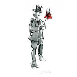 Armin Mueller-Stahl Kunst Bild kaufen All the best rot koloriert   handsigniertes Original