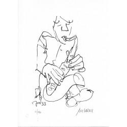 Armin Mueller-Stahl Kunst Bild kaufen Jazz-Saxophonist   handsigniertes Original