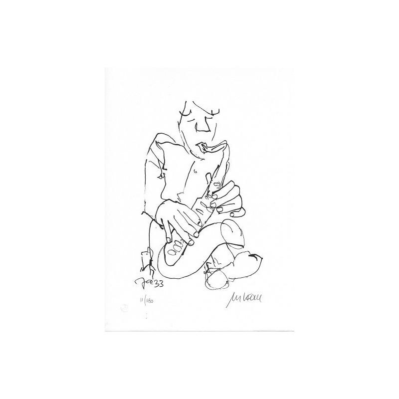Armin Mueller-Stahl Kunst Bild kaufen Jazz-Saxophonist | handsigniertes Original
