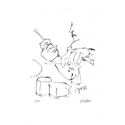 Armin Mueller-Stahl Kunst Bild kaufen Jazz-Schlagzeuger   handsigniertes Original