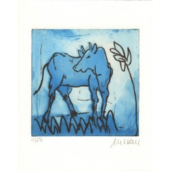 Armin Mueller-Stahl Kunst Bild kaufen Blaue Kuh mit Blume   handsigniertes Original