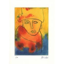 Armin Mueller-Stahl Kunst Bild kaufen Dame mit Pelz   handsigniertes Original