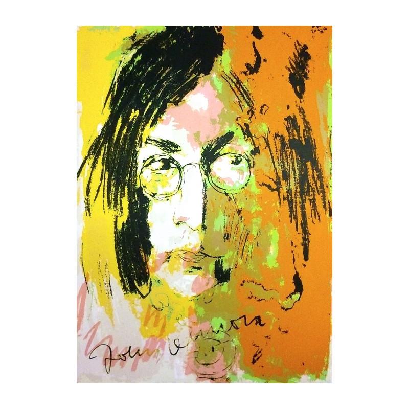 Armin Mueller-Stahl Kunst Bild kaufen Tribute to John Lennon gelb/orange | handsigniertes Original