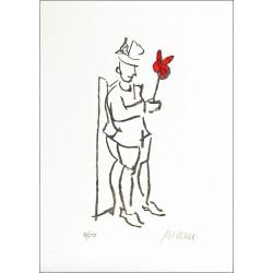 Armin Mueller-Stahl Kunst Bild kaufen Kompliment rot koloriert   handsigniertes Original