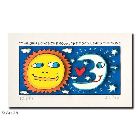 James Rizzi Bilder 3D Original Kunst - The sun loves the moon the moon loves the sun kaufen