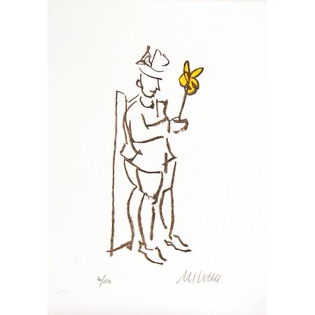 """Armin Mueller Stahl Original Bilder kaufen """"Kompliment gelb"""" handsigniert"""