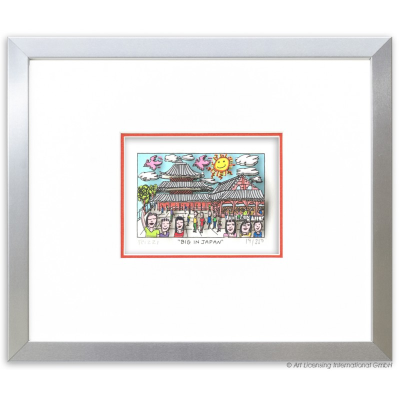 James Rizzi - Big in Japan Original 3D Bild im Rahmen