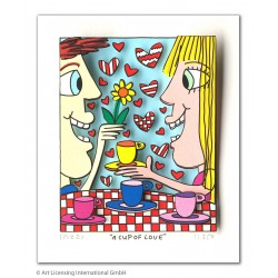 James Rizzi 3D Originale mit Passepartout Bilder kaufen A Cup of Love