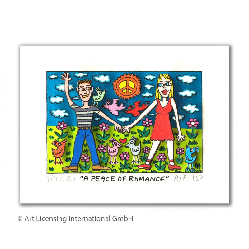"James Rizzi 3D Bilder kaufen ""A Peace of Romance"" mit Passepartout"