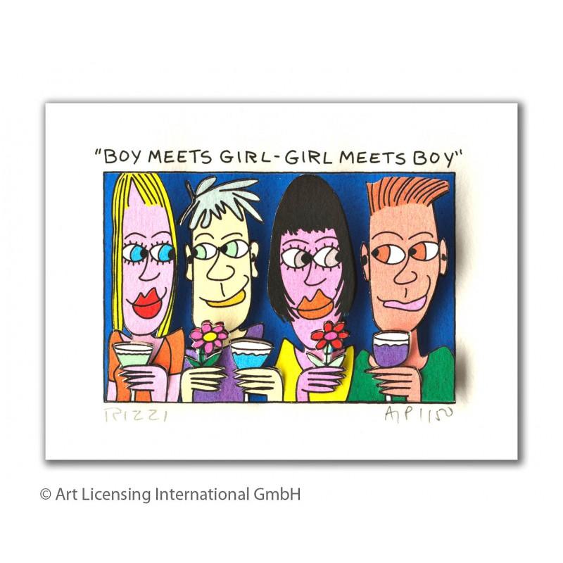 James Rizzi Original 3D Bilder kaufen - Boy meets girl - girl meets boy