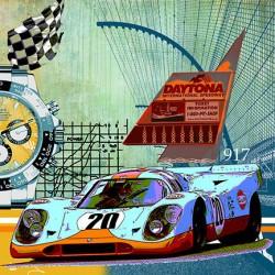 Leslie G. Hunt hat das Bild - GULF Porsche 917-DAYTONA selbst konzipiert und handsigniert