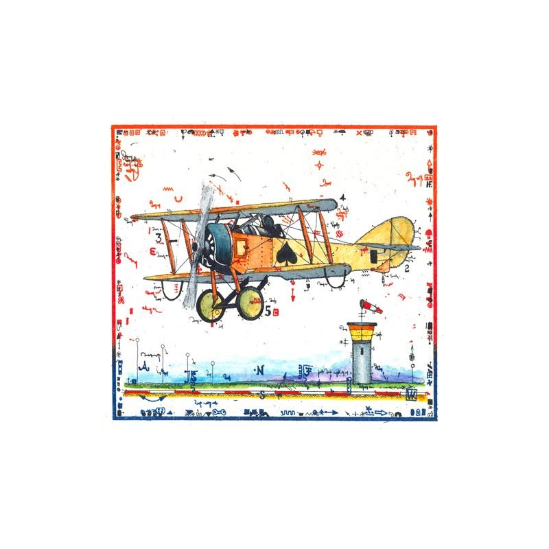 """Leslie Hunt Bilder kaufen Original """"Miniatur Flugzeug"""" Radierung handsigniert vom Künstler"""