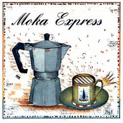 """Leslie Hunt Bilder kaufen Original """"Moka Express"""" Radierung handsigniert vom Künstler"""