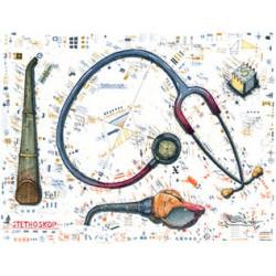 """Leslie Hunt Bilder kaufen Original """"Stethoskop"""" Radierung handsigniert vom Künstler"""