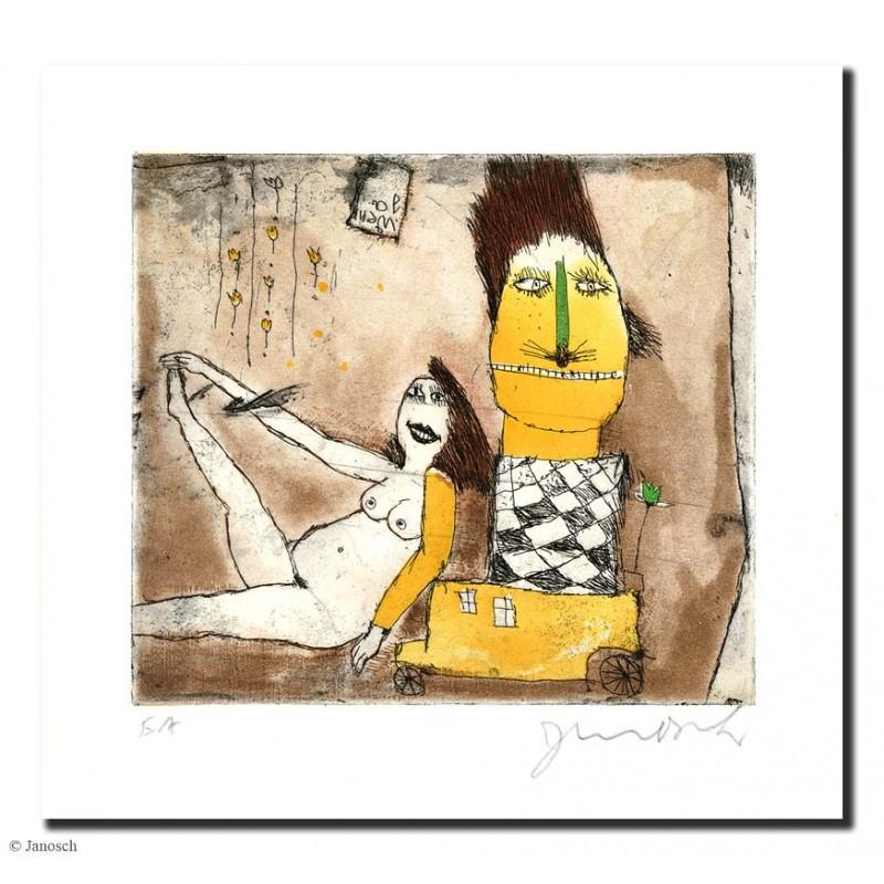 """Original Bild """"1 Ärmel in Gelb 2003"""" von Janosch - Kunst mit Zertifikat kaufen"""