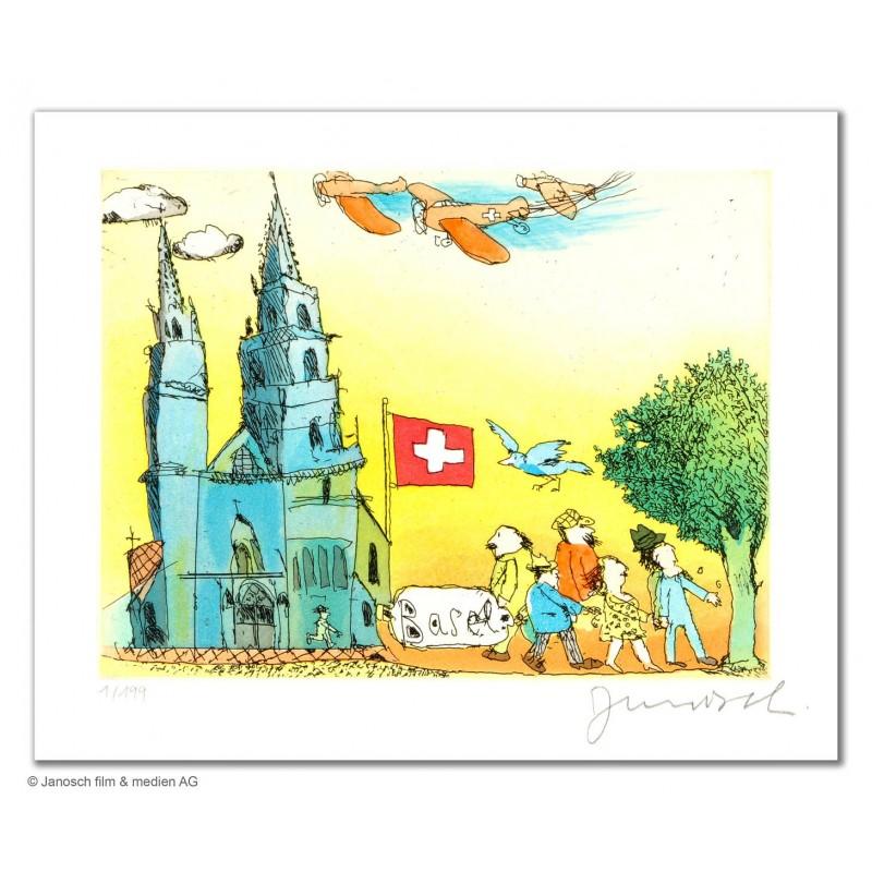 """Original Bild """"Basel und sein Münster"""" von Janosch - Kunst mit Zertifikat kaufen"""