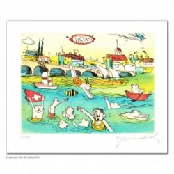 """Original Bild """"Basler Rheinschwimmen"""" von Janosch - Kunst mit Zertifikat kaufen"""