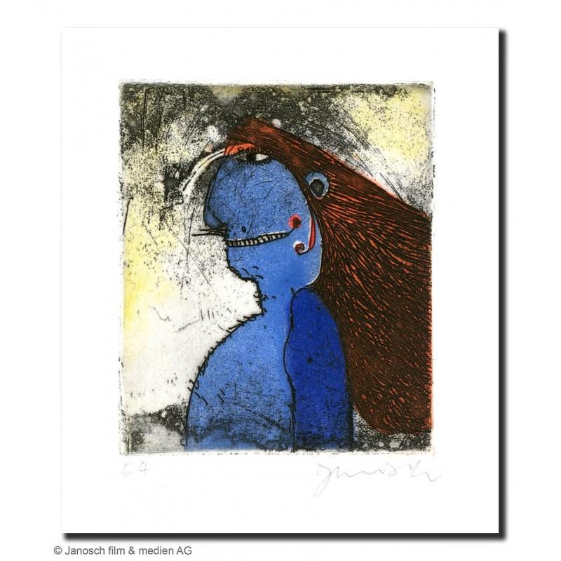 """Original Bild """"blauer Rotwangenhäuptling 2000"""" von Janosch - Kunst mit Zertifikat kaufen"""