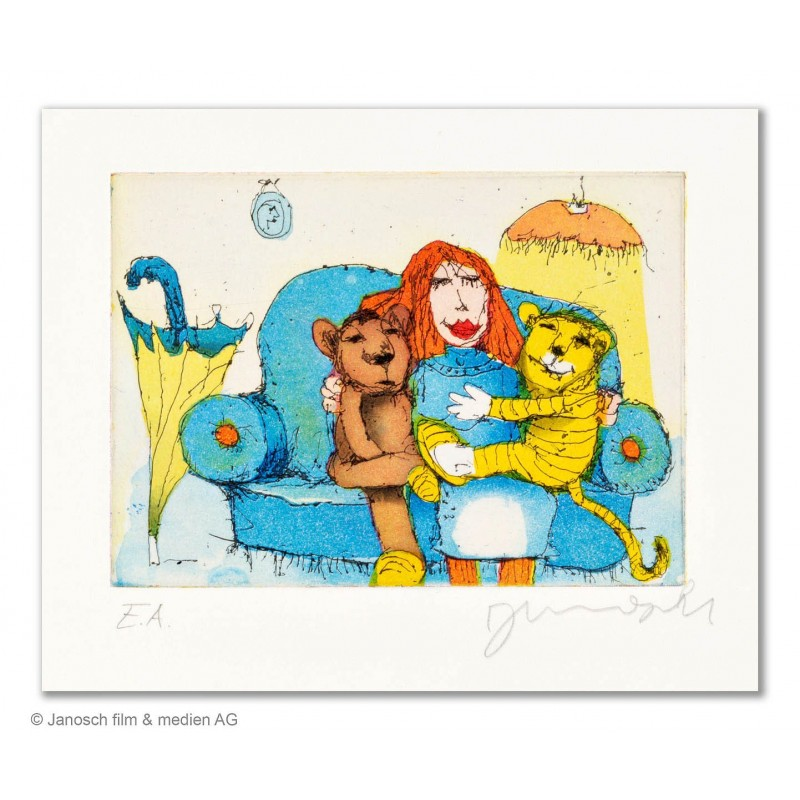 """Original Bild """"Da sassen Sie zusammen auf dem Sofa"""" von Janosch - Kunst mit Zertifikat kaufen"""