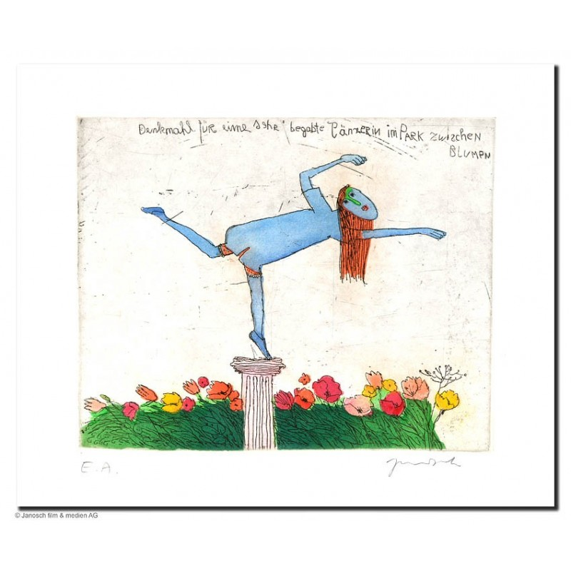 """Original Bild """"Denkmal für sehr begabte Tänzerin"""" von Janosch - Kunst mit Zertifikat kaufen"""