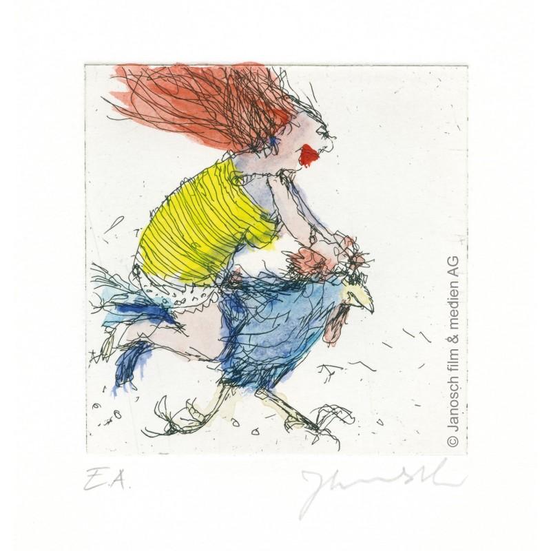 """Original Bild """"Der Hahn ist mein Mann und ich heisse Luise"""" von Janosch - Kunst mit Zertifikat kaufen"""