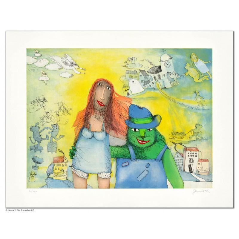 """Original Bild """"Der Mikesch heiratet Marie sie wohnt im Haus dort vis-a-vis"""" von Janosch - Kunst mit Zertifikat kaufen"""