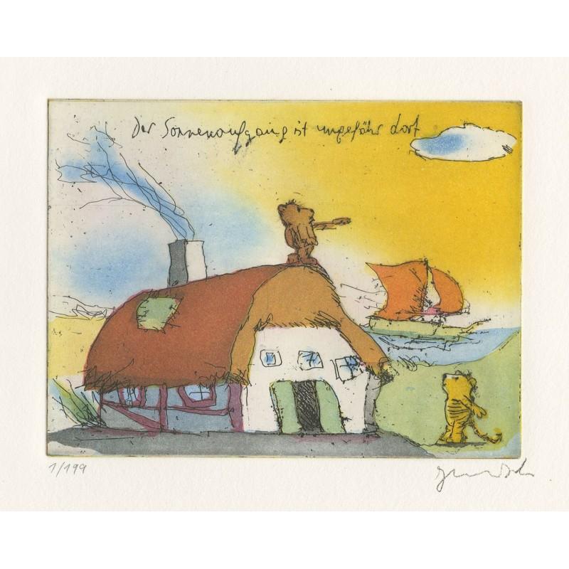 """Original Bild """"Der Sonnenaufgang ist ungefähr dort"""" von Janosch - Kunst mit Zertifikat kaufen"""