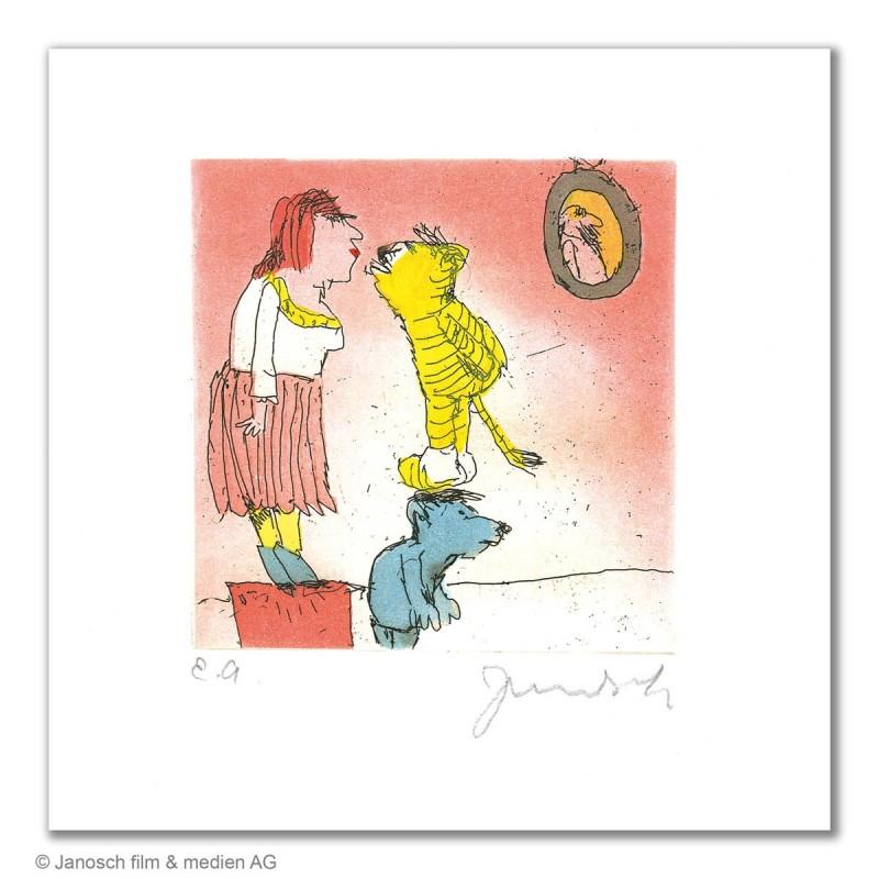"""Original Bild """"Der Tiger küsst hier..."""" von Janosch - Kunst mit Zertifikat kaufen"""