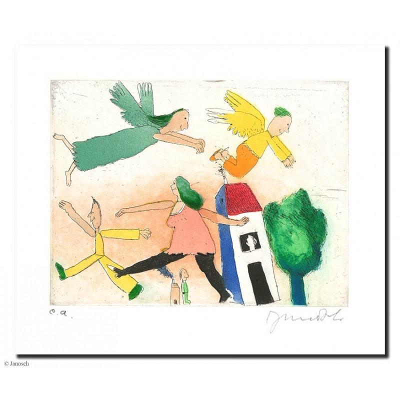 """Original Bild """"Die Leute oben + die Leute unten"""" von Janosch - Kunst mit Zertifikat kaufen"""