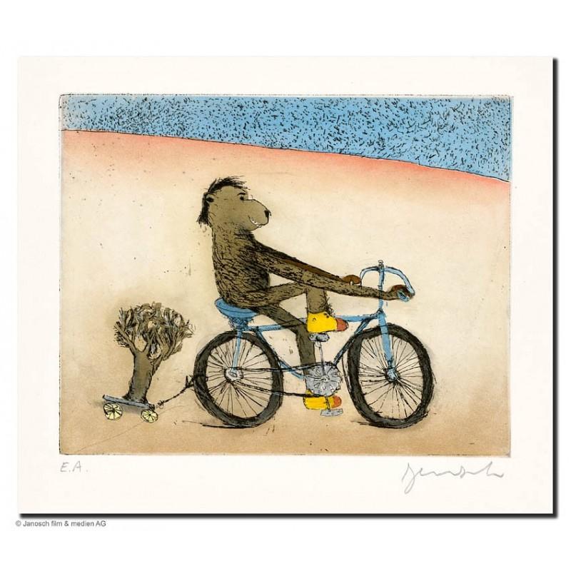 """Original Bild """"Fahrradbär"""" von Janosch - Kunst mit Zertifikat kaufen"""