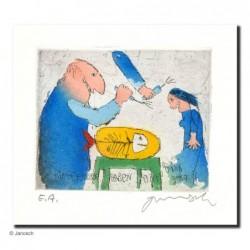 """Original Bild """"Fischesser"""" von Janosch - Kunst mit Zertifikat kaufen"""