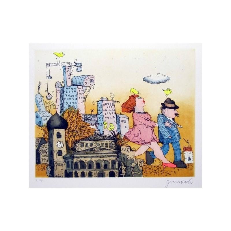"""Original Bild """"Frankfurt am Main"""" von Janosch - Kunst mit Zertifikat kaufen"""