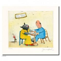 """Original Bild """"Frau Cafekatze"""" von Janosch - Kunst mit Zertifikat kaufen"""