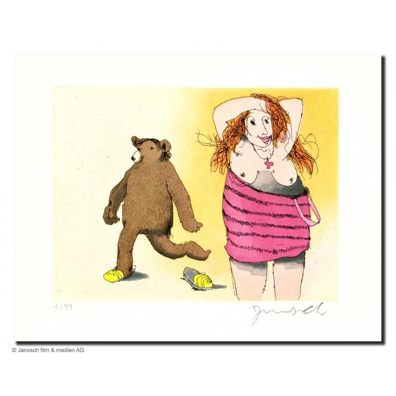 """Original Bild """"Frau mit Bär"""" von Janosch - Kunst mit Zertifikat kaufen"""