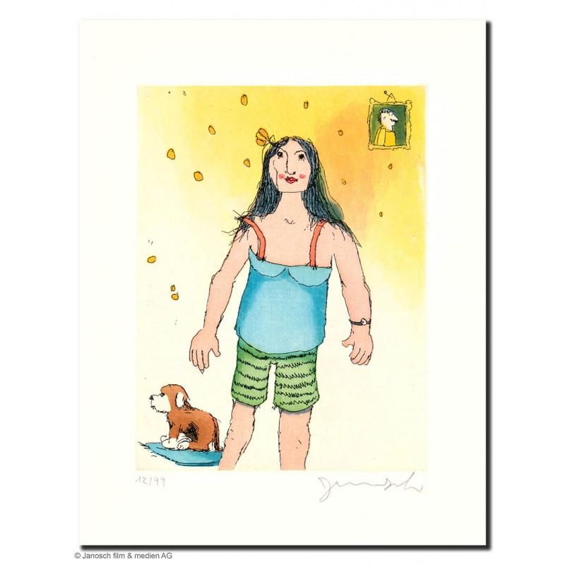 """Original Bild """"Frau mit Hund"""" von Janosch - Kunst mit Zertifikat kaufen"""