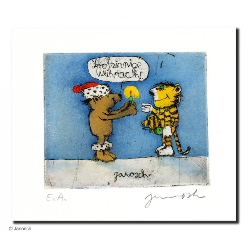 """Original Bild """"Frohsinnige Weihnachten"""" von Janosch - Kunst mit Zertifikat kaufen"""