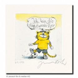 """Original Bild """"Fußball Tiger (""""Ich bin die starke Borussia Tiger"""")"""" von Janosch - Kunst mit Zertifikat kaufen"""