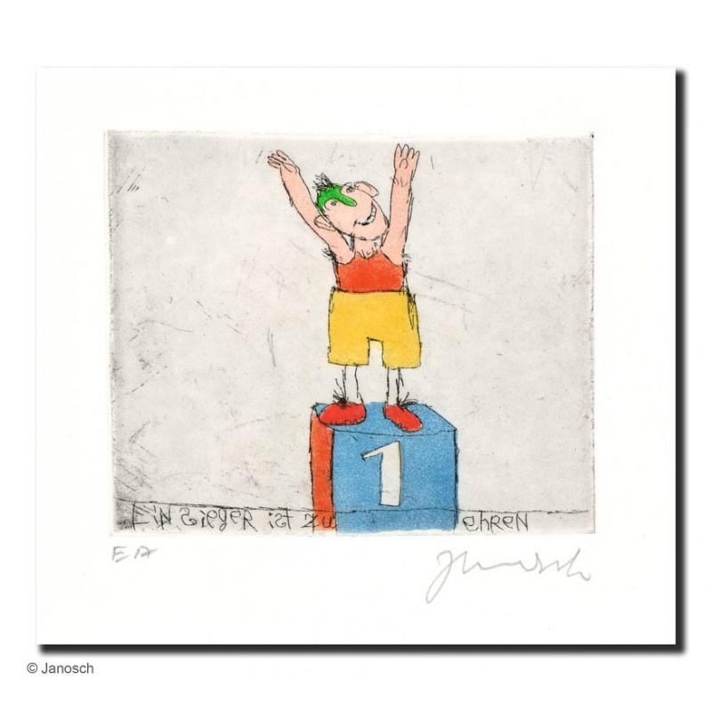 """Original Bild """"Gelbhosensieger"""" von Janosch - Kunst mit Zertifikat kaufen"""