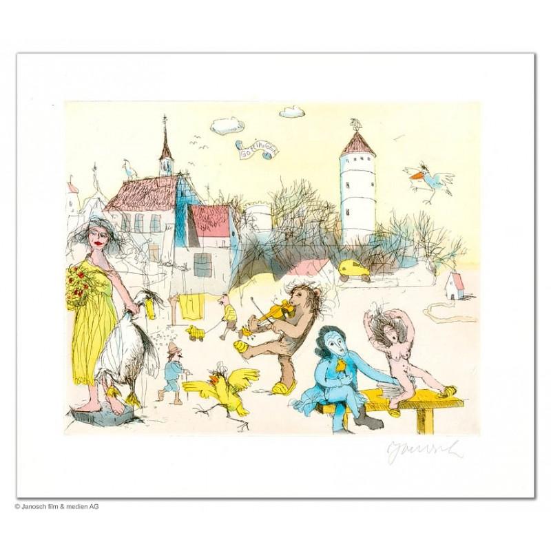 """Original Bild """"Göttingen groß (Gänseliesel)"""" von Janosch - Kunst mit Zertifikat kaufen"""