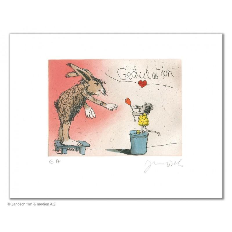 """Original Bild """"Gratulation du lieber Hase"""" von Janosch - Kunst mit Zertifikat kaufen"""