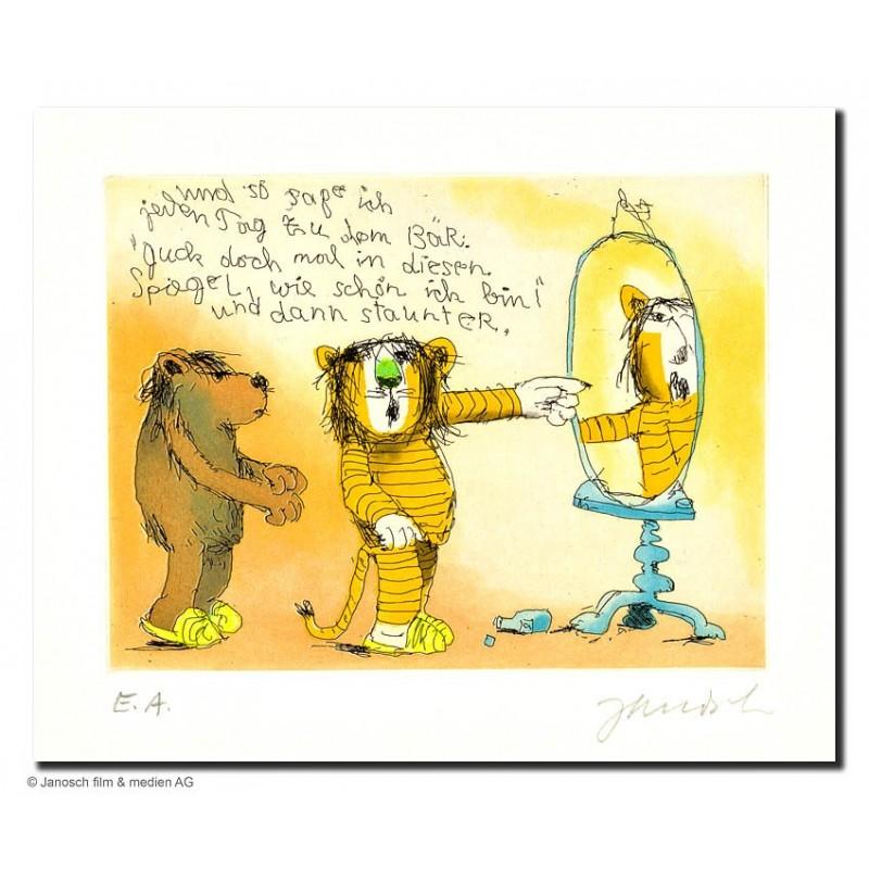 """Original Bild """"Guck Doch mal in diesen Spiegel"""" von Janosch - Kunst mit Zertifikat kaufen"""