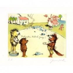 """Original Bild """"Hallo Herr Fuchs wie geht´s denn so"""" von Janosch - Kunst mit Zertifikat kaufen"""