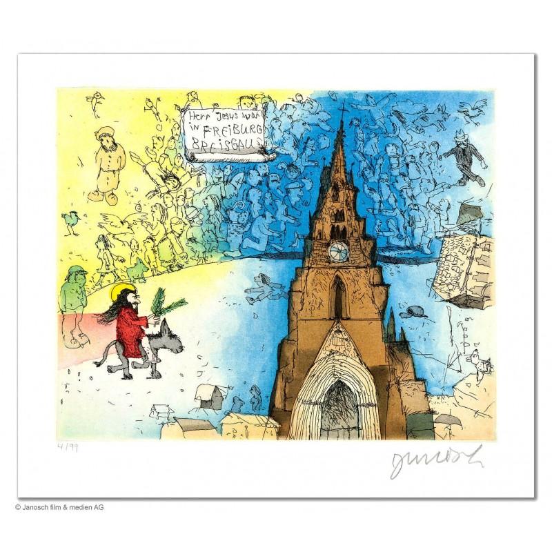 """Original Bild """"Herr Jesus war in Freiburg Breisgau"""" von Janosch - Kunst mit Zertifikat kaufen"""