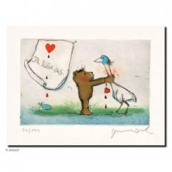 """Original Bild """"ich liebe Dich (Du Gans)"""" von Janosch - Kunst mit Zertifikat kaufen"""