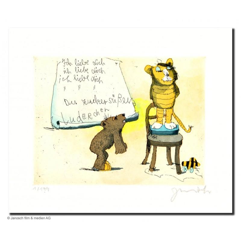 """Original Bild """"Ich liebe Dich Du zuckersüßes Luderchen"""" von Janosch - Kunst mit Zertifikat kaufen"""