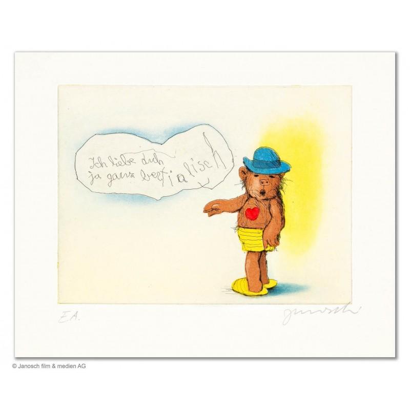 """Original Bild """"Ich liebe dich ja ganz bestialisch"""" von Janosch - Kunst mit Zertifikat kaufen"""