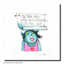 """Original Bild """"Ich liebe Dich weil Du so tierisch schön bist"""" von Janosch - Kunst mit Zertifikat kaufen"""