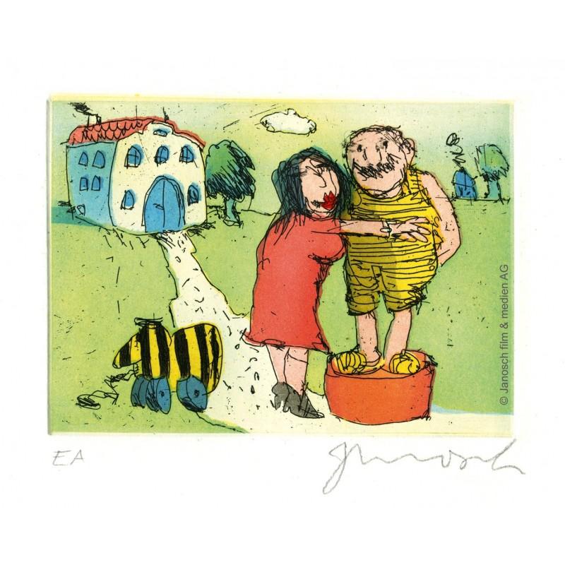 """Original Bild """"Ich liebe Sie sprach Frau Luise zu mir auf einer grünen Wiese"""" von Janosch - Kunst mit Zertifikat kaufen"""
